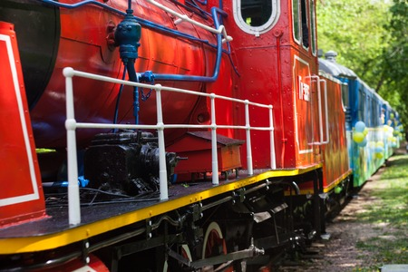 forest railroad: Train with steam locomotive going through the park. Stock Photo
