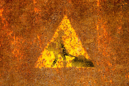roadworks: Old roadworks sign on rusty metal surface.