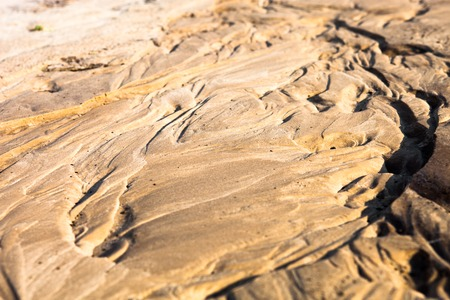currents: Sand surface after the rain with the relief formed by water currents.