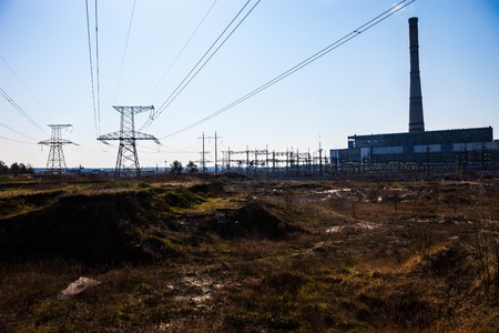 Cogeneration plant in Kyiv (Ukraine) and transmission lines near it. photo