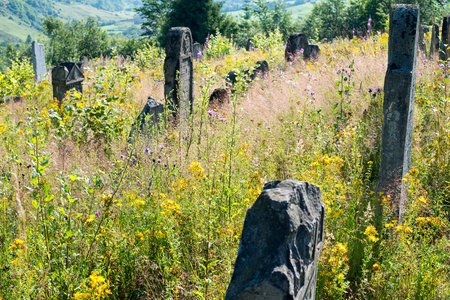 yiddish: Vecchio abbandonato cimitero ebraico nei Carpazi ucraini.