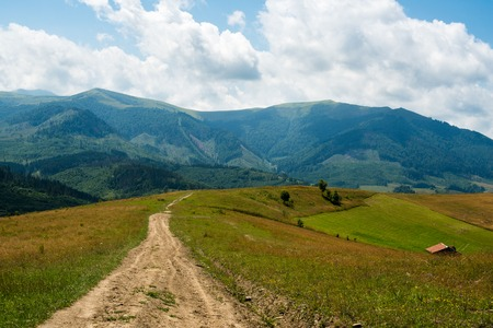 Dirt road against the summer landscape in the Ukrainian Carpathian Mountains. photo