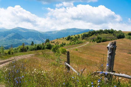 Wooden fence against the summer landscape in the Ukrainian Carpathian Mountains. photo