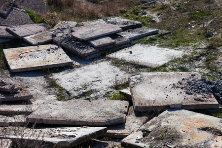 Heap of the old and damaged concrete blocks Stock Photo