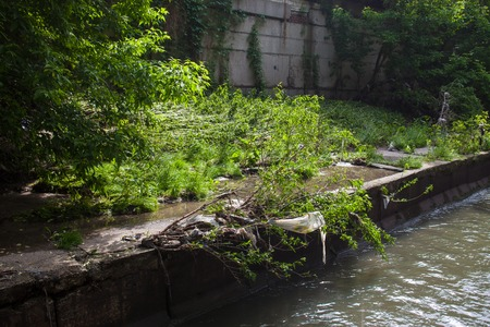 river       water: Water pollution. Garbage on the bank of the urban stream. Stock Photo