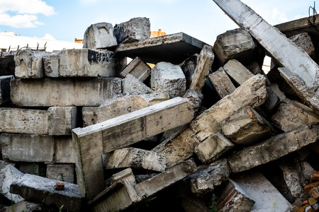 spoilage: The big heap of the damaged concrete blocks.