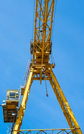 construction material: Gantry crane against the blue sky background