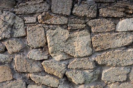 sedimentary: Masonry of coquina (sedimentary rock composed of broken shells) bricks Stock Photo