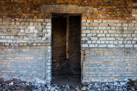 and aperture: Door aperture inside the old ruined brick building