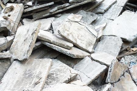Heap of the damaged concrete blocks. Construction debris.