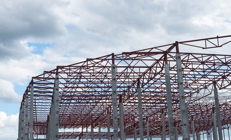 Construction site. Framework of the new building.