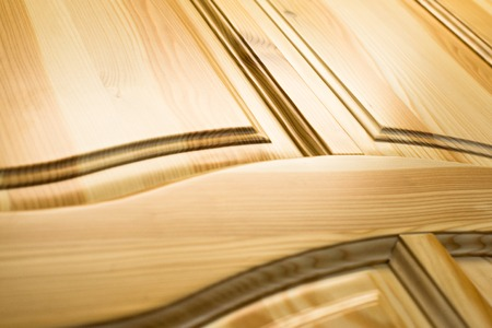 Wooden surface. Frame and panel construction. Close up.