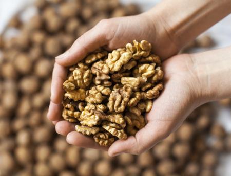 Handful of walnuts kernels against the walnuts in shell background Standard-Bild