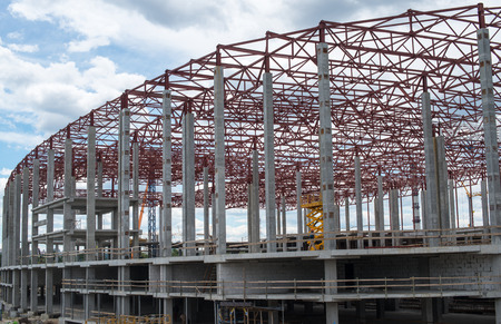 rafter: Construction site. Framework of the new building.
