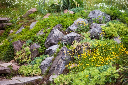 Pile of stones in the green blooming garden. photo
