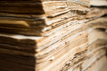 Stack of the old paper documents in the archive. photo