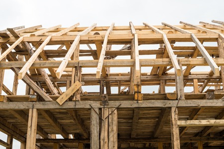 residential house: Wooden framing of the new residential house. Stock Photo