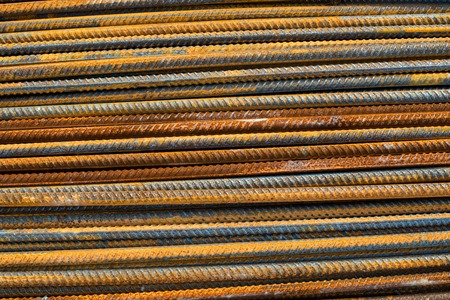 Stack of the metal rusty reinforcement bars. Stock Photo