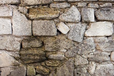 coquina: Alba�iler�a de coquina (roca sedimentaria compuesta de conchas rotas) ladrillos