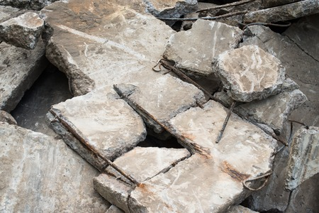 spoilage: Heap of the damaged concrete blocks. Construction debris.