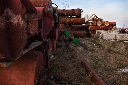 metal pipes: Stack of the old abandoned rusty metal pipes.