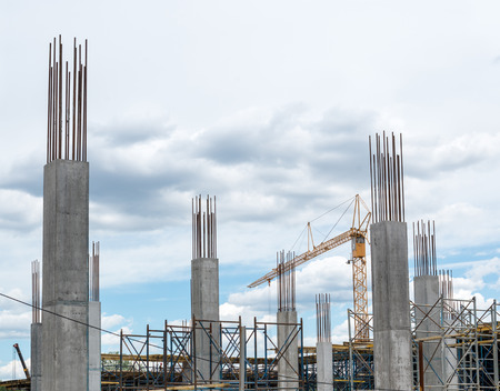 Reinforced concrete piles of the new building and tower crane behind them.
