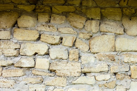 coquina: Masonry of coquina (sedimentary rock composed of broken shells) bricks Stock Photo