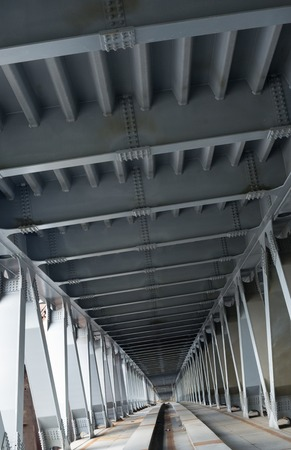 construction platform: Bridge construction. Metal framework of the bridge