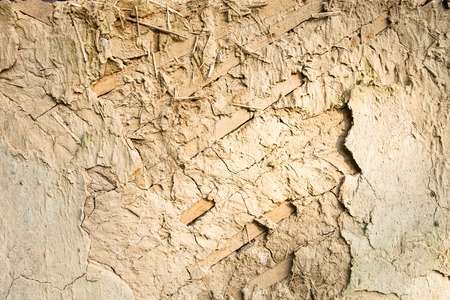 daub: Cracked wall surface of the old wattle and daub house. Stock Photo