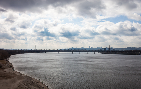 the dnieper: The Dnieper river in Kyiv (Ukraine) in early spring.