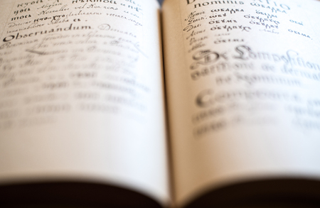 grammar: The Old Slavonic Grammar. Open book. Close up. Stock Photo