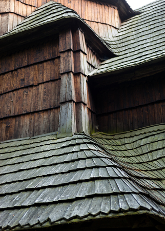 shingle: The old wooden shingle roof. Close up. Stock Photo