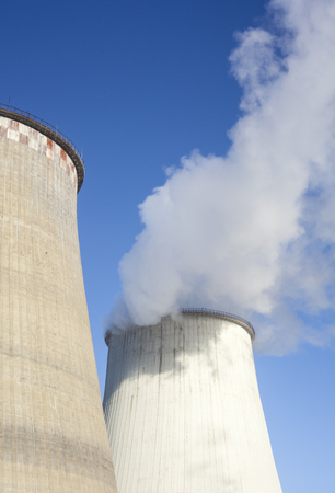 Cooling towers of the power plant in Kyiv (Ukraine). Standard-Bild
