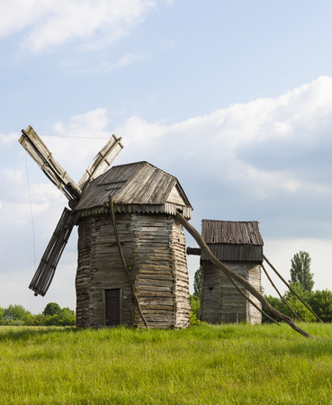 Traditional Ukrainian windmills in the open-air Museum of Folk Architecture and Life of Ukraine in Pyrohiv near Kyiv.