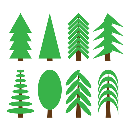 Collection of different trees. Isolated  Simple shapes  Vector illustration. Illustration