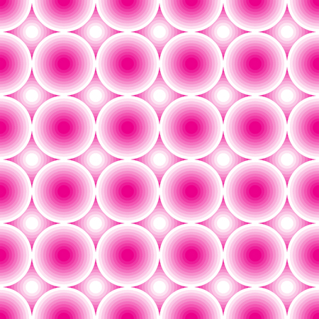 Pink and white circles. Seamless abstract geometrical pattern. Vector illustration.