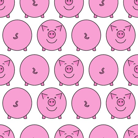 Pink pig. Front view and back view. Pig's snout and pig's tail. Seamless pattern. Vector illustration.