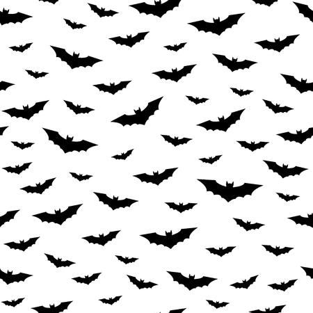 Flying bats seamless pattern. Happy Halloween background. Black and white vector illustration. Vektorové ilustrace