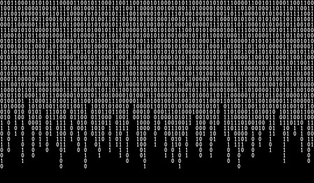 Binary code seamless pattern. Computer background with 1 and 0 numbers. Data and technology. Black and white vector illustration.
