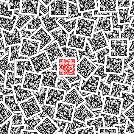 Red qr code on the black and white qr codes background. Be different. Product sign. Seamless vector illustration. Ilustração