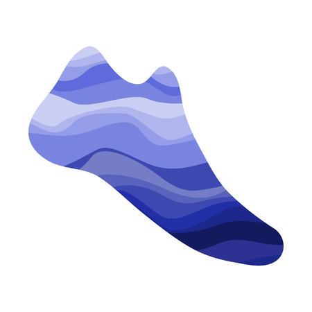 Shoe with a wavy blue pattern. Marine print on the footware. Vector illustration.