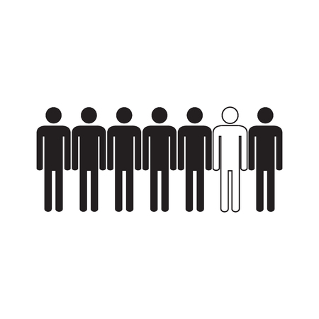 People are different. Icon. Human silhouettes. Black an white. Vector illustration.