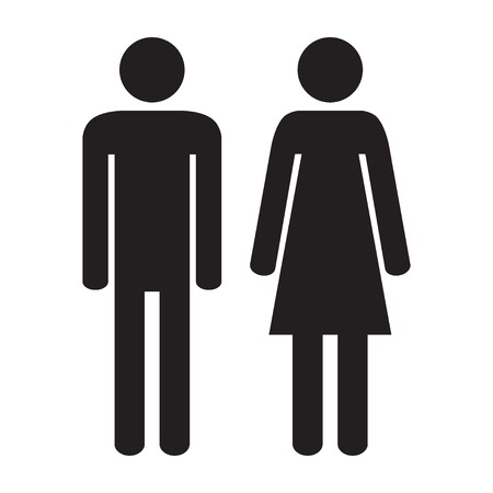 Man and woman icon isolated on the white background. Vector illustration. Ilustração