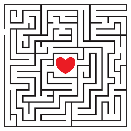 Labyrinth with red heart and to enters. Find your love. Find the way. Relationship. Happy Valentine's day card. Vector illustration.