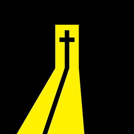 Christian cross in the open door. Christian symbol. Way from the darkness to the light, to belief, to salvation. Vector illustration. Illustration