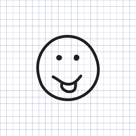 Smiley icon with stuck out tongue on the exercise book background. Hand drawn face symbol. Vector illustration. Stock Illustratie