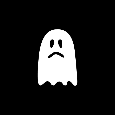 Ghost icon. Black and white vector illustration.