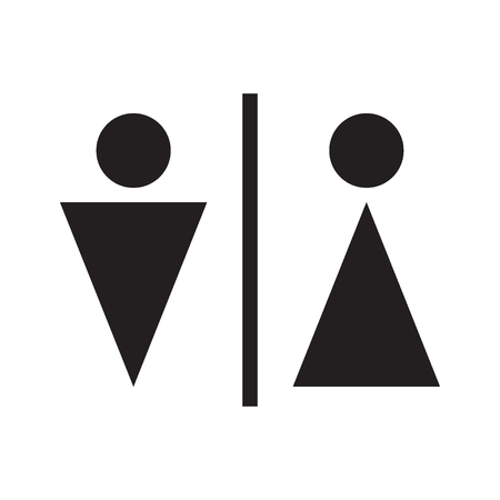 Man and woman icon isolated on the white background. WC icon. Gender concept. Vector illustration. Ilustração