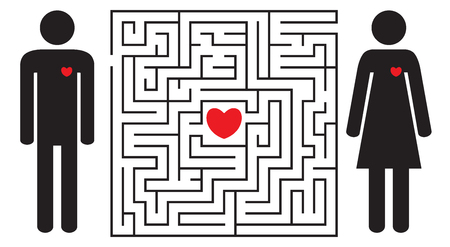 Labyrinth with red heart. Silhouettes of man and woman. Find your love. Find the way. Relationship. Happy Valentine's day card. Vector illustration. Vettoriali