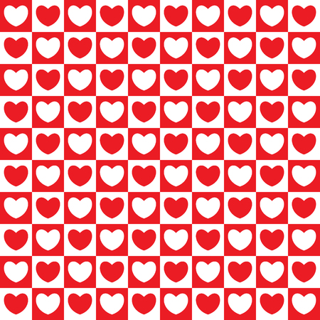 Seamless checkered pattern with hearts. Red and white colors. Vector illustration.